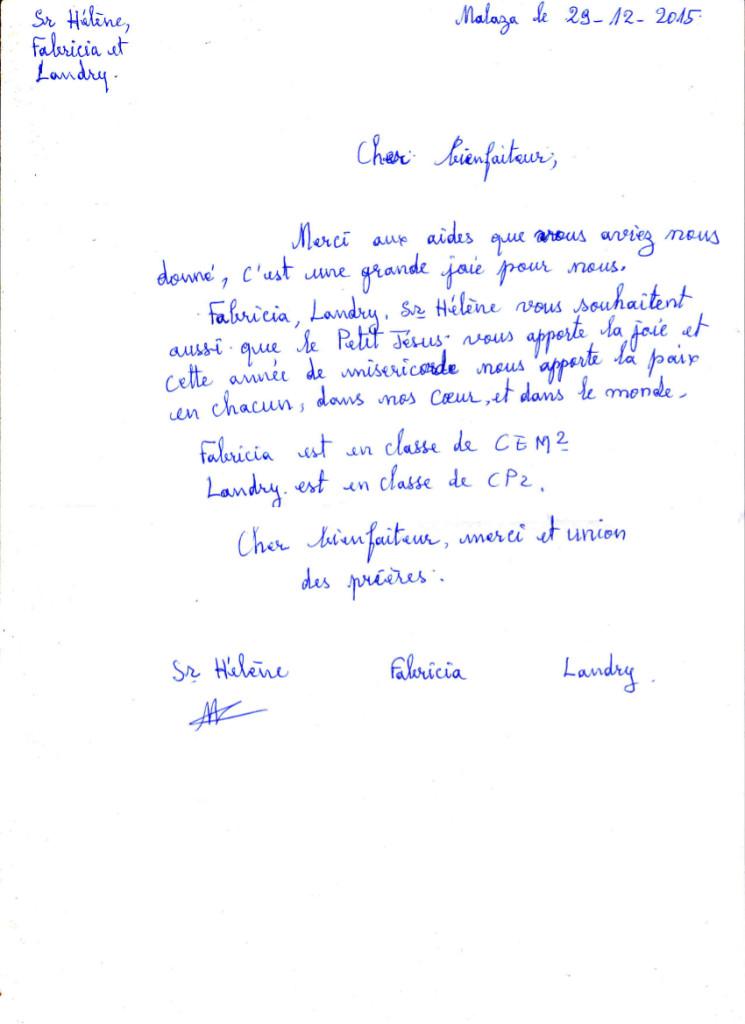 List siostry Hélène., Felicji i Landry